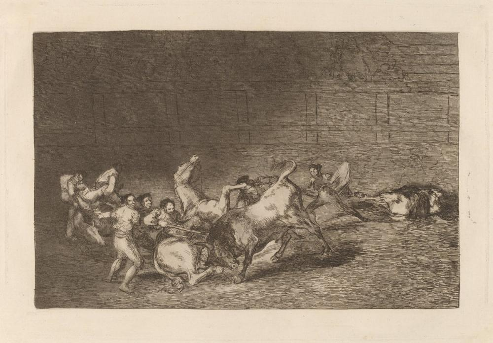 Francisco Goya, Dos Grupos de Picadores Arrollados de Seguida Por un Solo Toro, Figure, Francisco Goya, kanvas tablo, canvas print sales