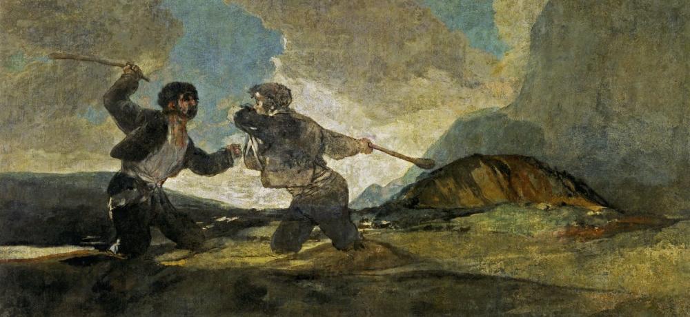 Francisco Goya, Sopalarla Düello, Figür, Francisco Goya, kanvas tablo, canvas print sales