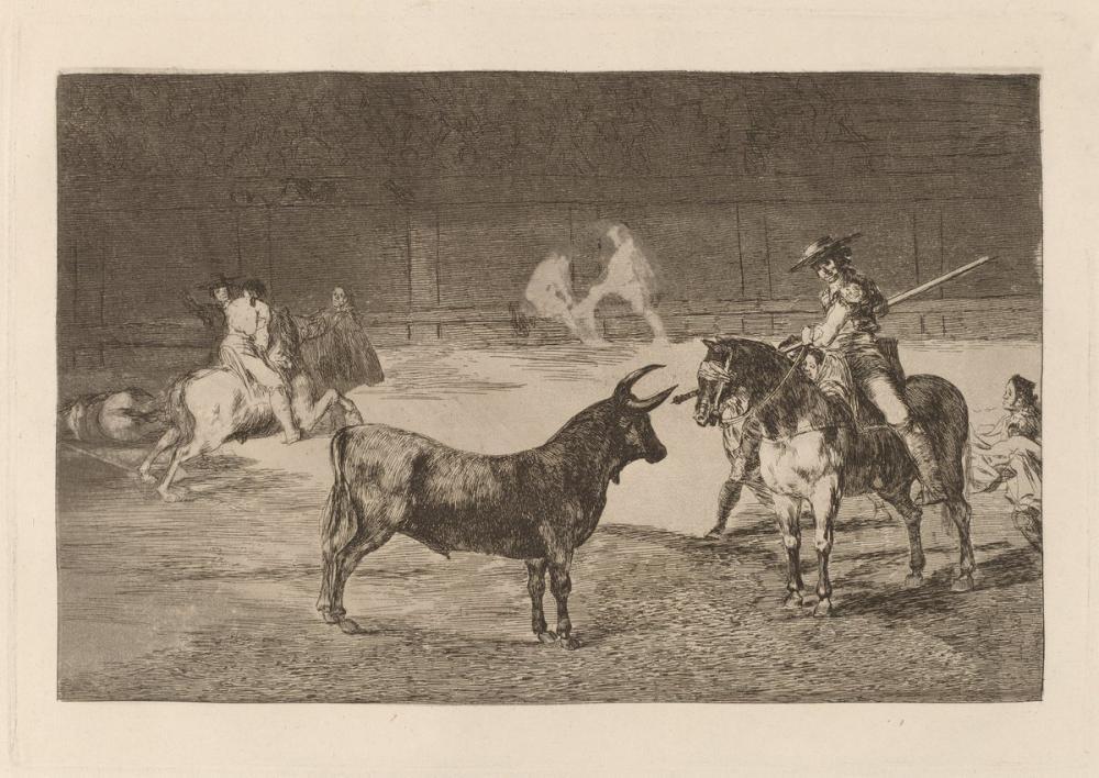 Francisco Goya, El Celebre Fernando Del Toro Barilarguero Obligando A La Fiera Con Su Garrocha, Canvas, Francisco Goya, kanvas tablo, canvas print sales