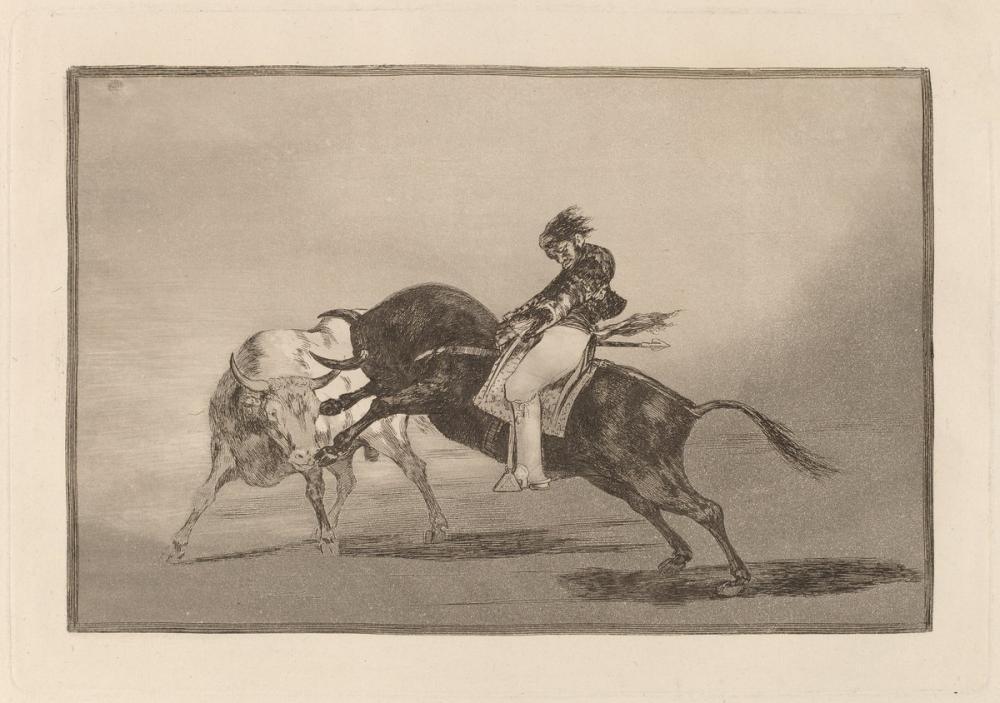 Francisco Goya, Plaza de Madrid deki Başka Bir Boğa Çatlağı Barına Monte Edilmiş Keballos, Figür, Francisco Goya, kanvas tablo, canvas print sales