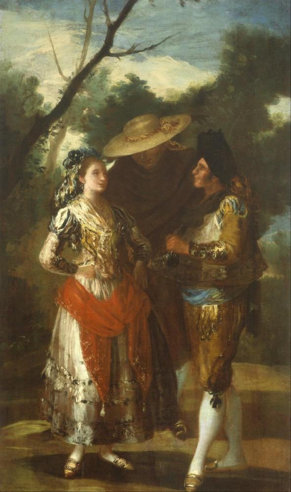 Francisco Goya, İki Toreros lu Jose de A Maja nın Takipçisi, Kanvas Tablo, Francisco Goya, kanvas tablo, canvas print sales