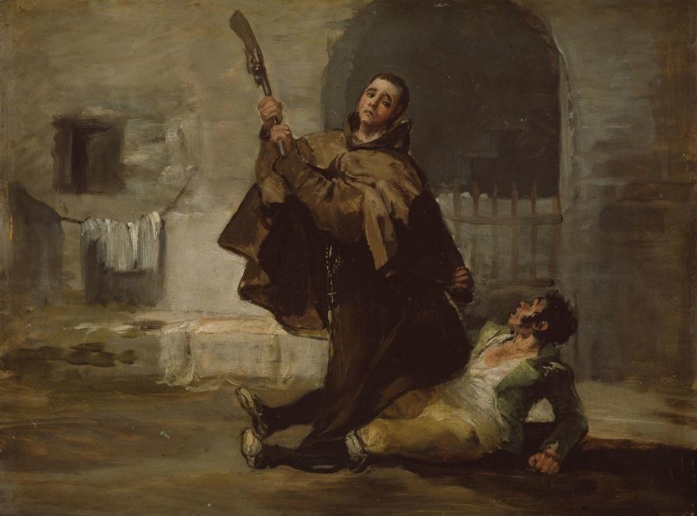Francisco Goya, Friar Pedro Clubs El Maragato With The Butt Of The Gun, Canvas, Francisco Goya, kanvas tablo, canvas print sales