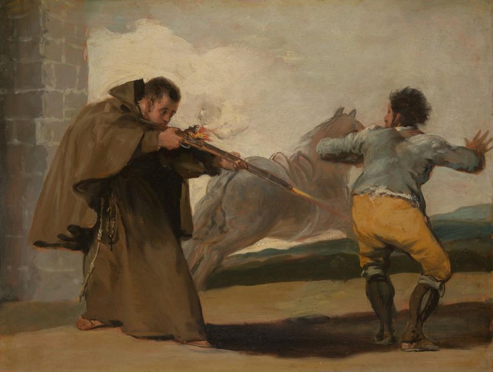 Francisco Goya, Friar Pedro Shoots El Maragato as His Horse Runs Off, Canvas, Francisco Goya, kanvas tablo, canvas print sales