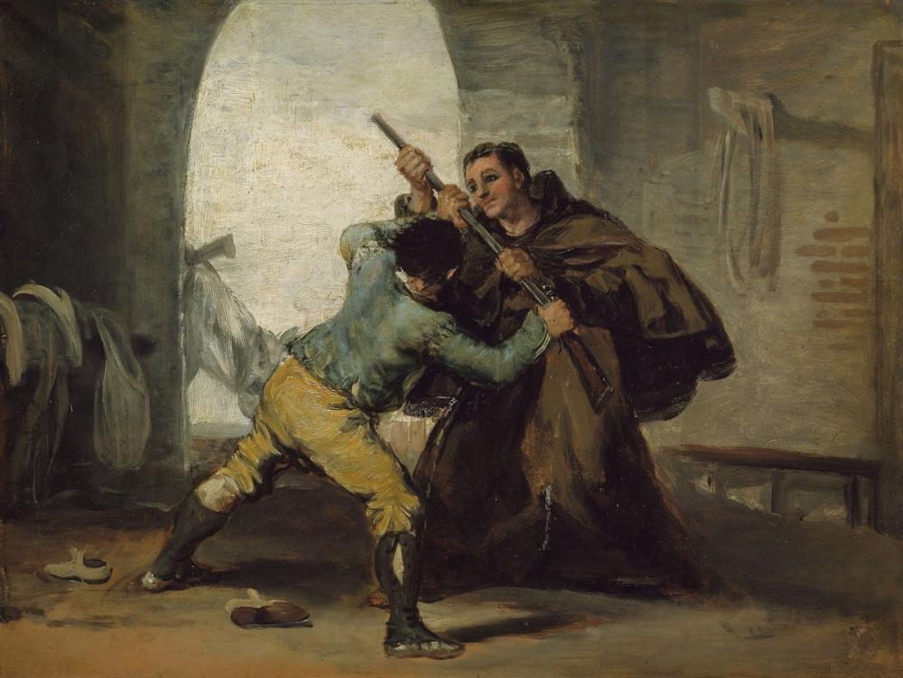 Francisco Goya, Friar Pedro, Silahı El Maragato dan Güreyor, Kanvas Tablo, Francisco Goya, kanvas tablo, canvas print sales