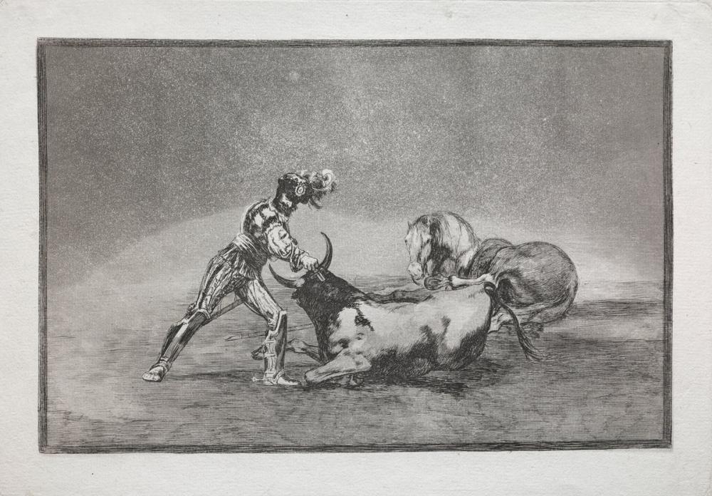 Francisco Goya, La Tauromaquia İspanyol Bir Şövalye Atını Kaybettikten Sonra Boğa Öldürüyor, Kanvas Tablo, Francisco Goya, kanvas tablo, canvas print sales