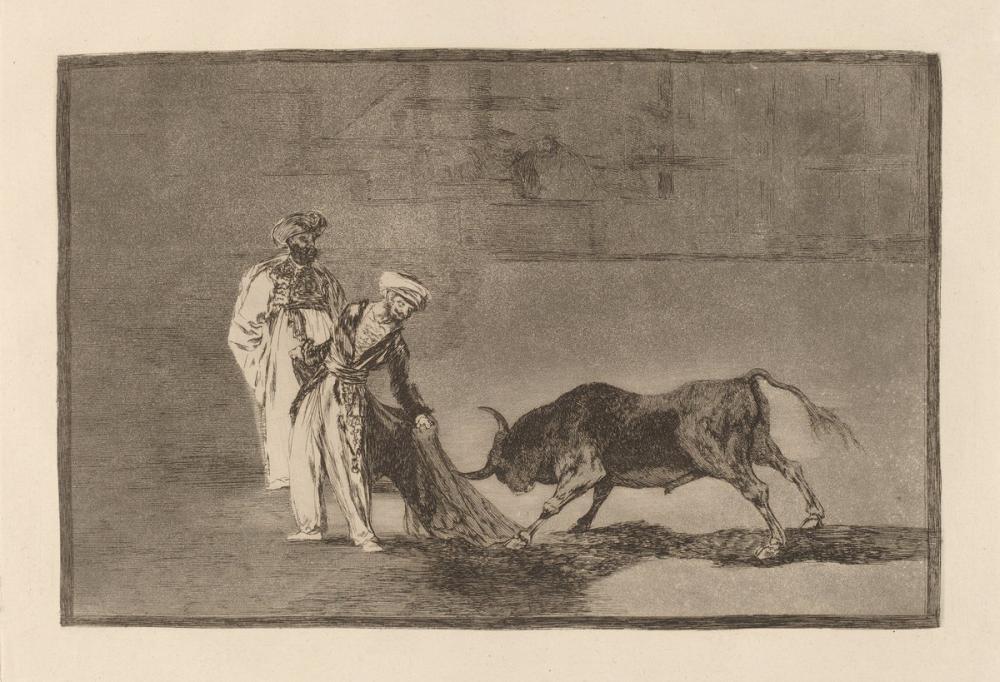 Francisco Goya, Los Moros Hacen Otro Capeo en Plaza Con su Albornoz, Canvas, Francisco Goya, kanvas tablo, canvas print sales