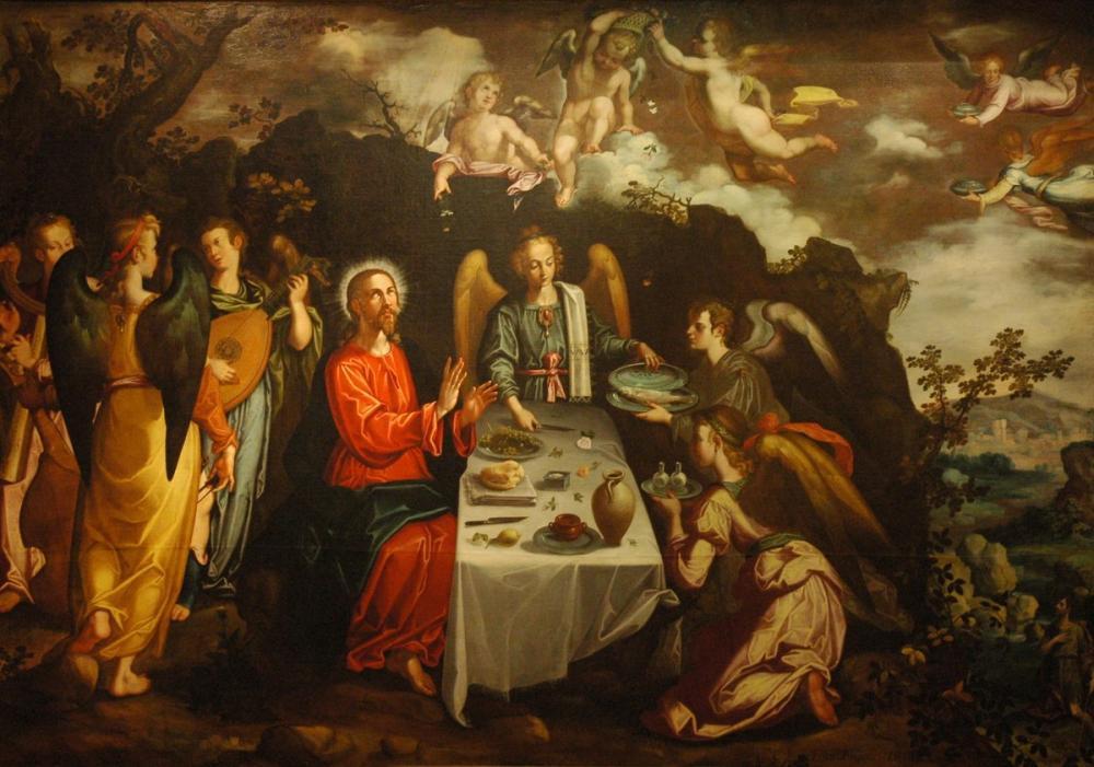 Francisco Goya, Pacheco Le Christ Servi Par Les Anges Dans Le Désert, Canvas, Francisco Goya, kanvas tablo, canvas print sales