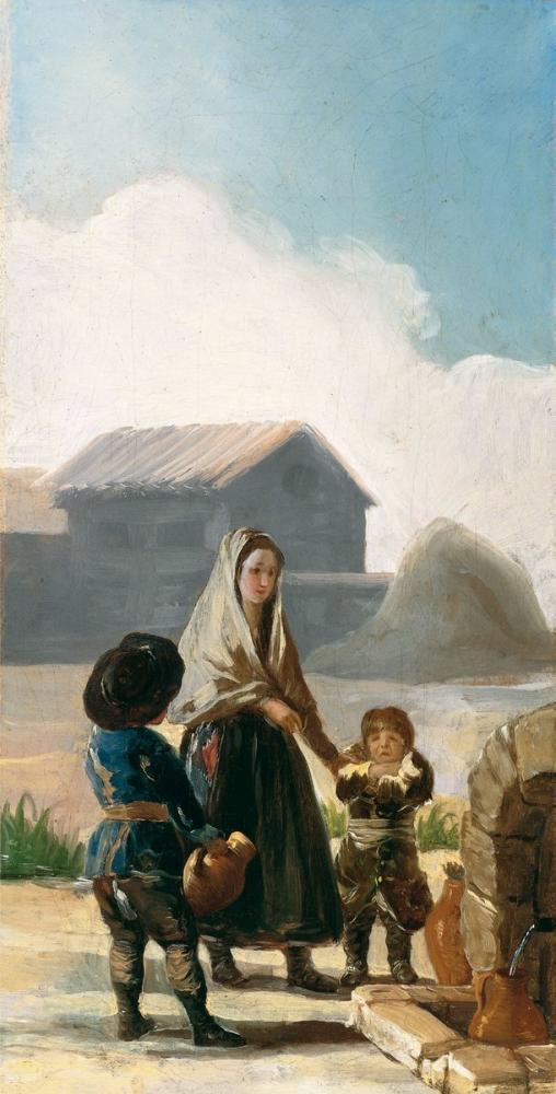 Francisco Goya, A Woman And Two Children Next To A Fountain, Canvas, Francisco Goya, kanvas tablo, canvas print sales