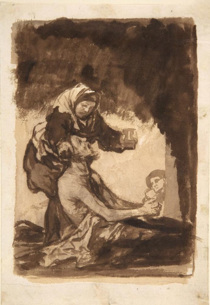 Francisco Goya, A Woman Handing A Mug To An Old Man, Figure, Francisco Goya, kanvas tablo, canvas print sales