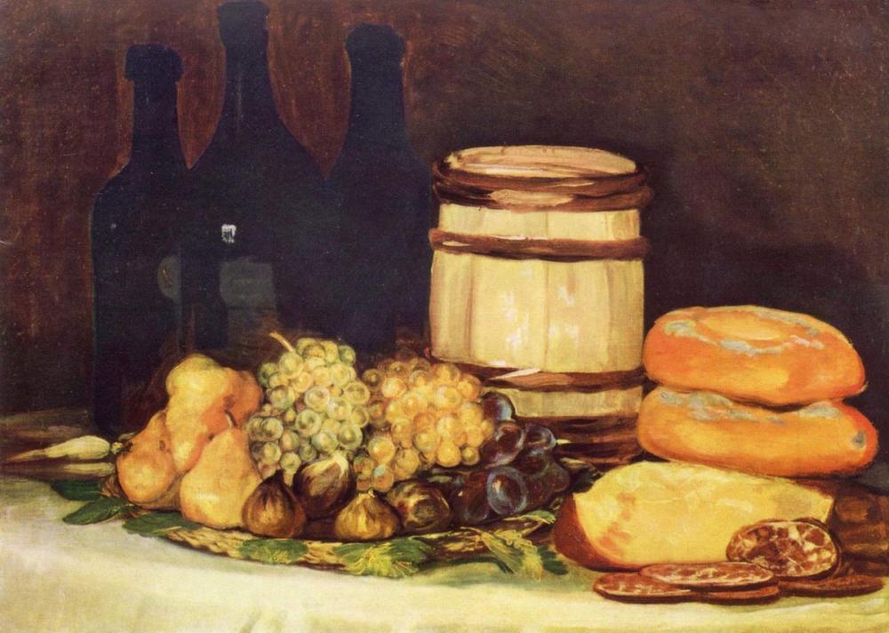 Francisco Goya, Still Life with Bottles Fruits And Bread, Canvas, Francisco Goya, kanvas tablo, canvas print sales