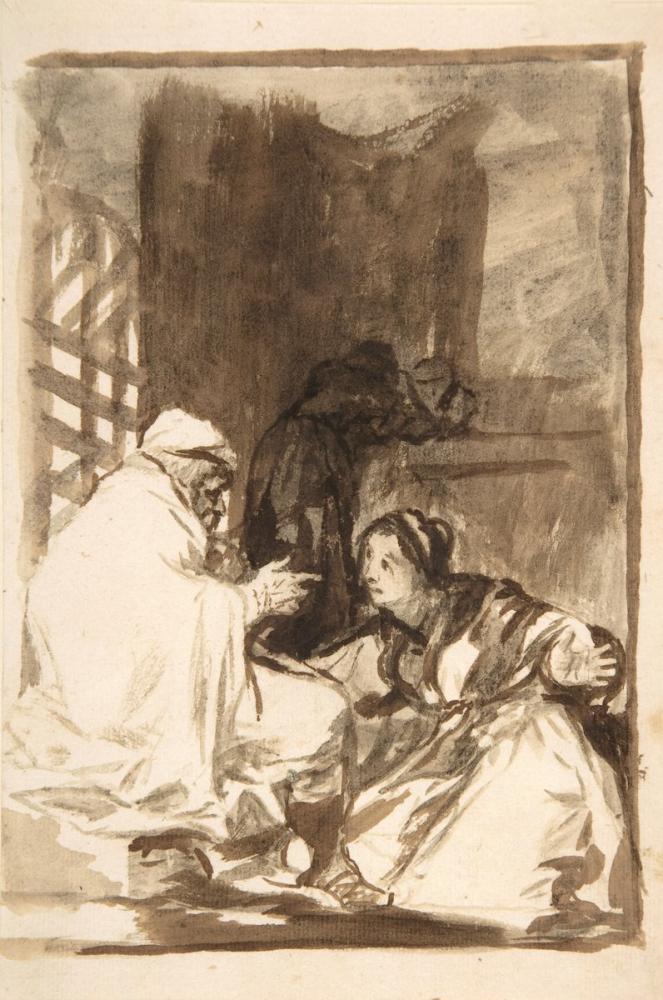 Francisco Goya, A Woman Kneeling Before An Old Man, Figure, Francisco Goya, kanvas tablo, canvas print sales