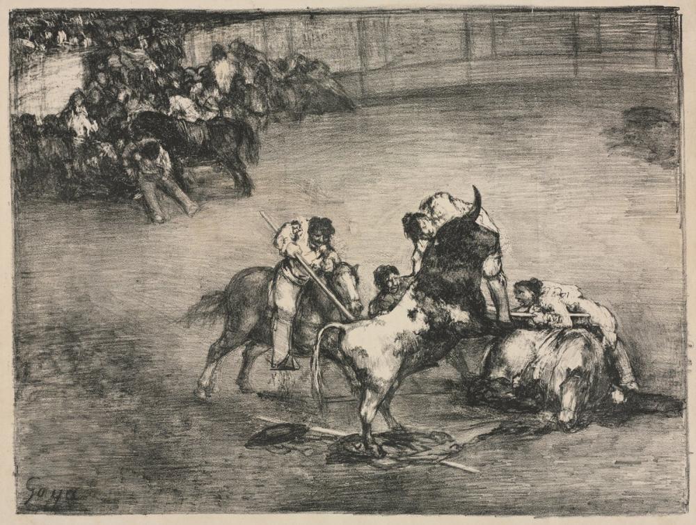Francisco Goya, Bordeaux Picador Boğaları Boğa Yakaladı, Kanvas Tablo, Francisco Goya, kanvas tablo, canvas print sales