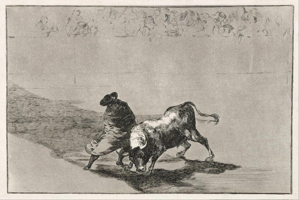 Francisco Goya, Zeki Hatalar Öğrencisi Boğayı Kızdırıyor, Figür, Francisco Goya, kanvas tablo, canvas print sales