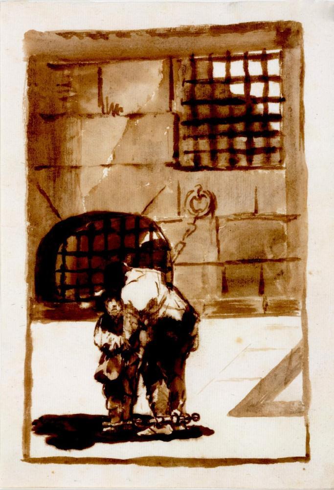 Francisco Goya, Ütülerdeki İki Mahkum, Kanvas Tablo, Francisco Goya, kanvas tablo, canvas print sales