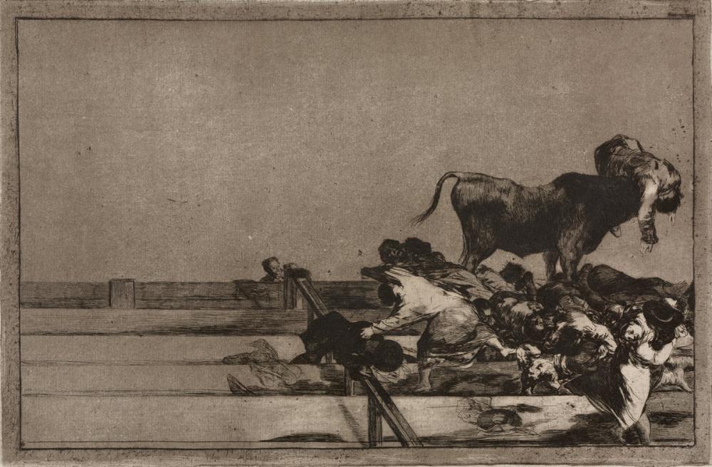 Francisco Goya, Boğa Güreşi Madrid de Halkanın Ön Sıralarında Korkunç Olaylar, Figür, Francisco Goya, kanvas tablo, canvas print sales