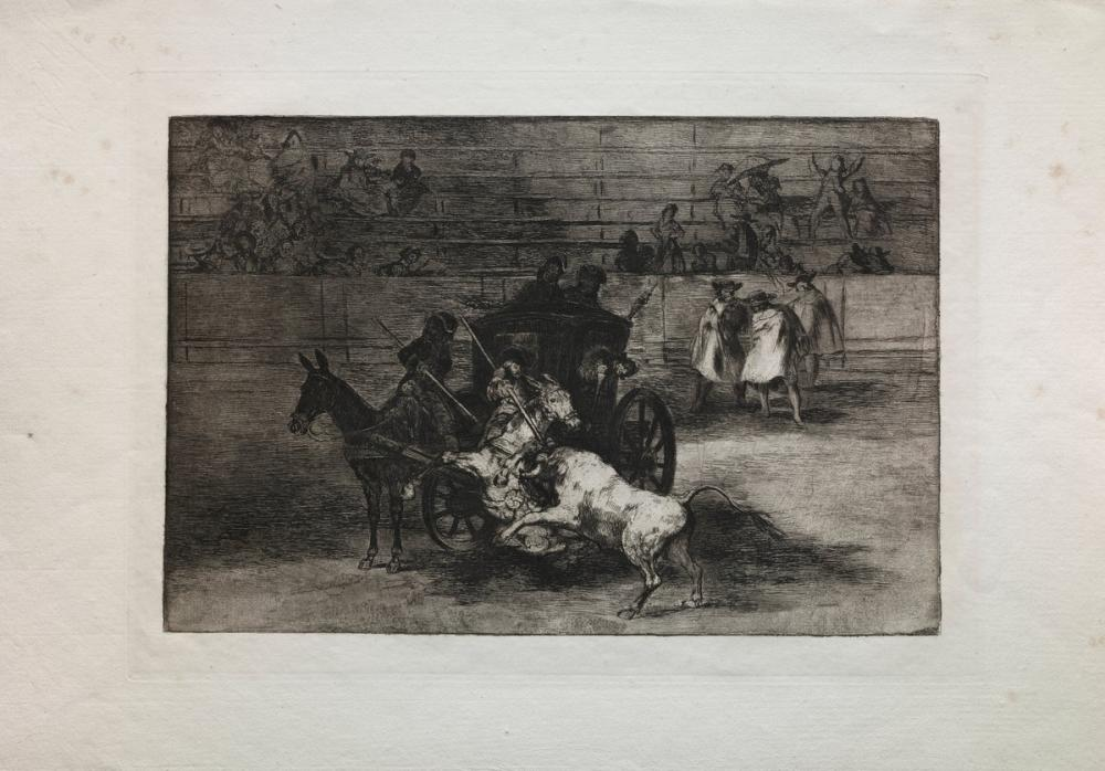 Francisco Goya, Bullfights Fight In A Carriage Harnessed To Two Mules, Figure, Francisco Goya, kanvas tablo, canvas print sales