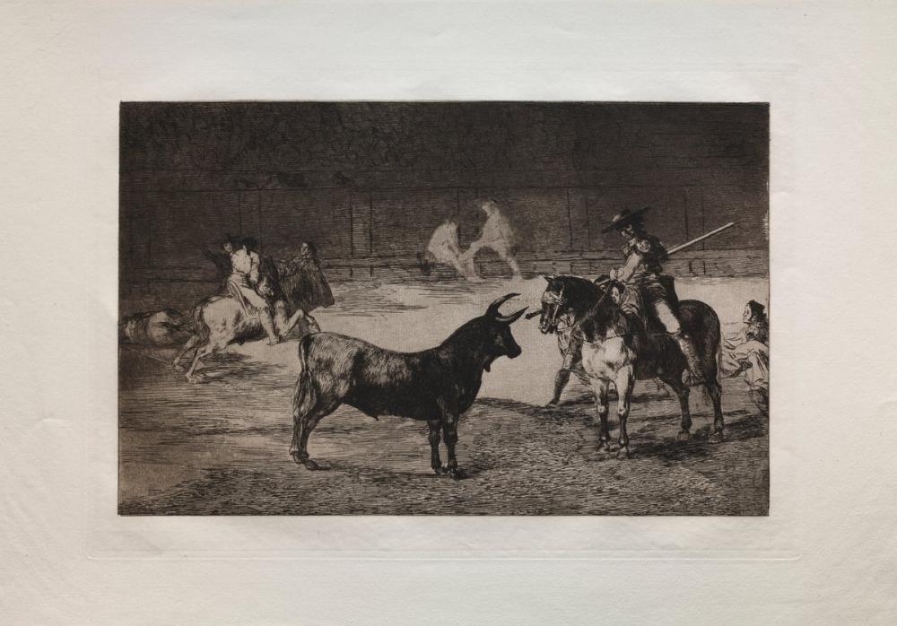 Francisco Goya, Bullfights The Celebrated Picador Fernando del Toro Draws the Fierce Be, Figure, Francisco Goya, kanvas tablo, canvas print sales