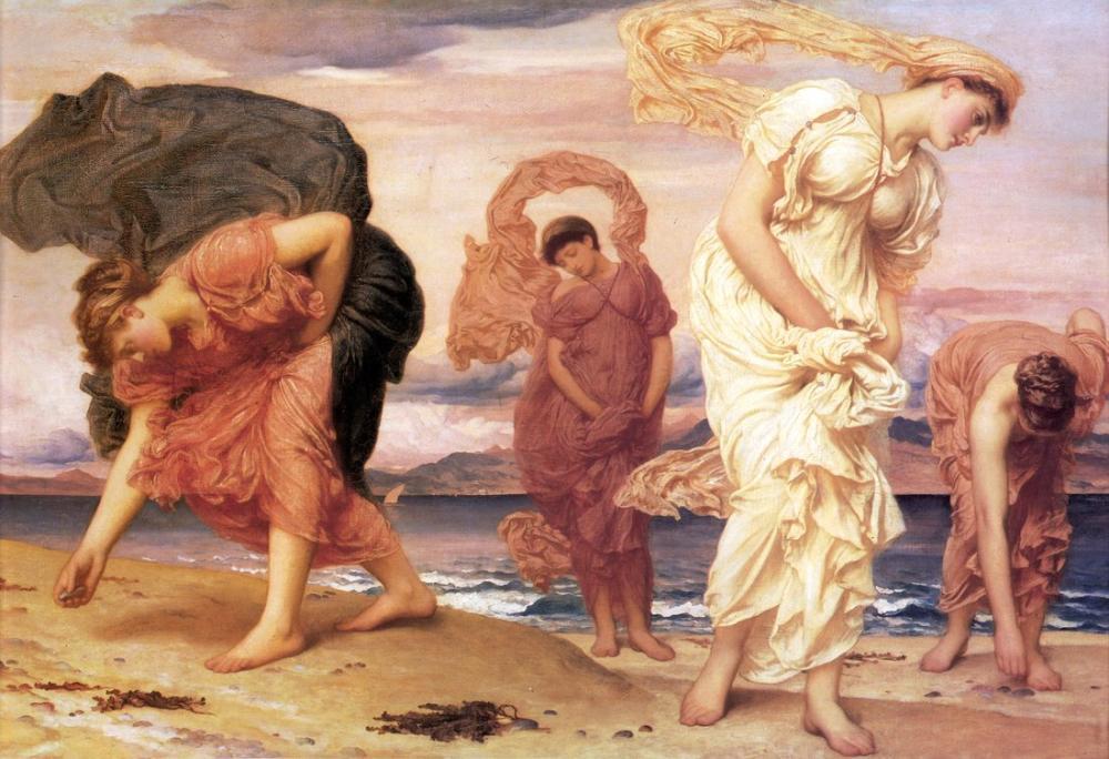 Frederic Leighton Yunan Kızları Deniz Yoluyla Çakıl Toplamak, Kanvas Tablo, Frederic Leighton, kanvas tablo, canvas print sales