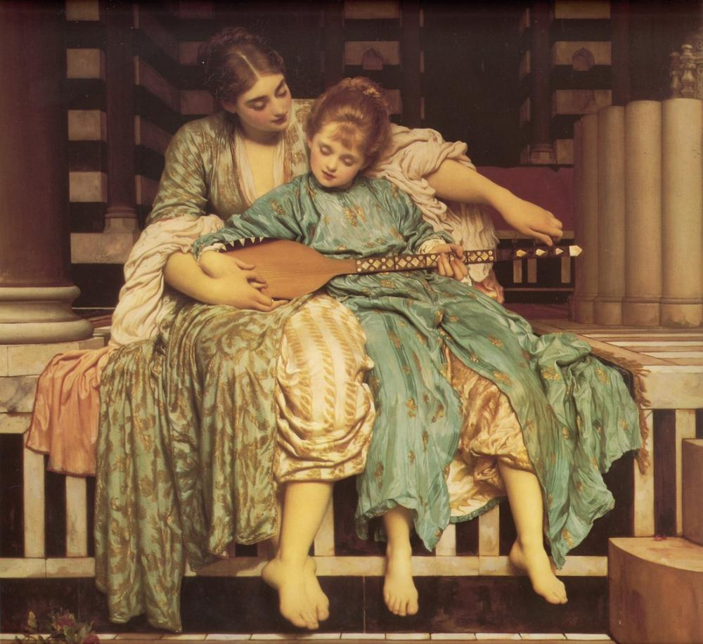 Frederic Leighton Müzik Dersi, Kanvas Tablo, Frederic Leighton, kanvas tablo, canvas print sales