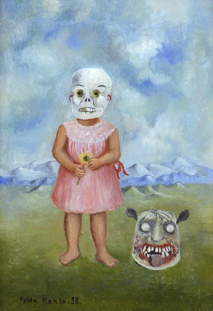 Frida Kahlo Ölüm Maskesi ile Kız, Figür, Frida Kahlo, kanvas tablo, canvas print sales