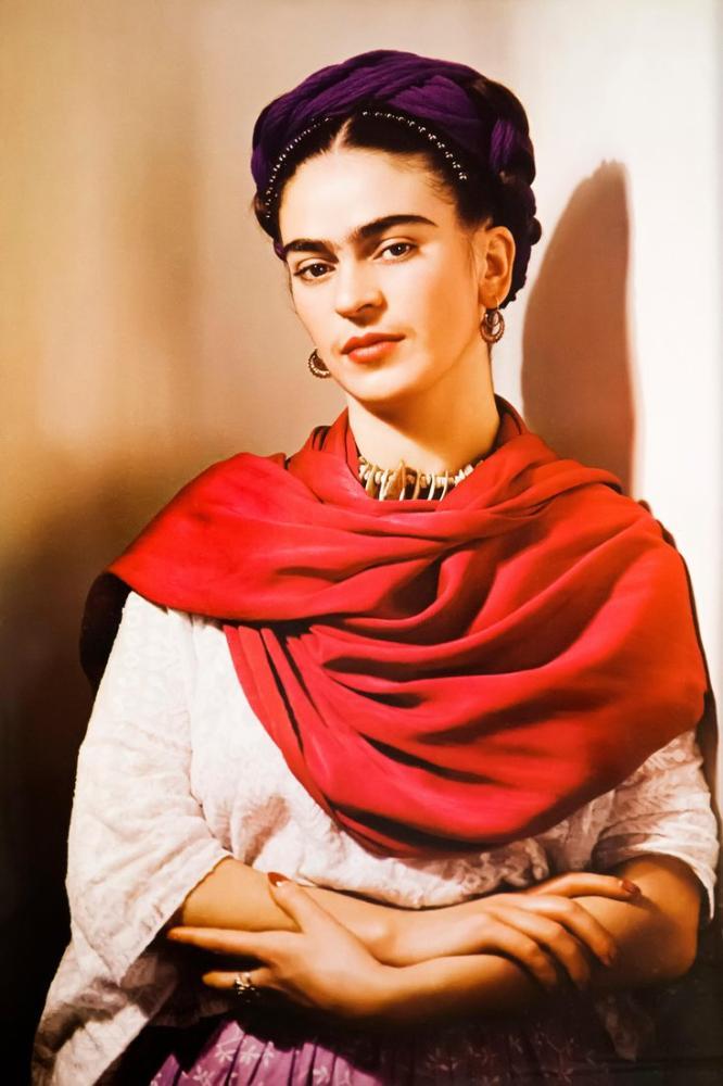 Frida Kahlo Red Shawl Portrait, Canvas, Frida Kahlo, kanvas tablo, canvas print sales