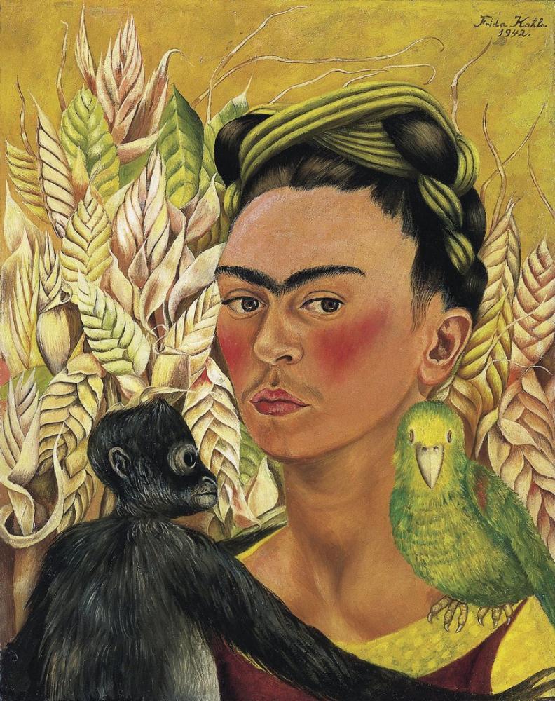 Frida Kahlo Maymun Ve Papağan İle Otoportre, Kanvas Tablo, Frida Kahlo, kanvas tablo, canvas print sales