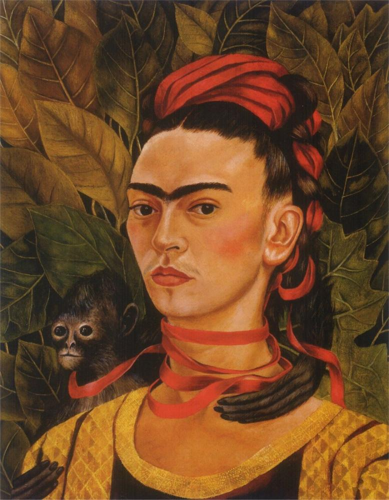 Frida Kahlo Maymun ve Kırmızı Kurdele İle Otoportre, Kanvas Tablo, Frida Kahlo, kanvas tablo, canvas print sales