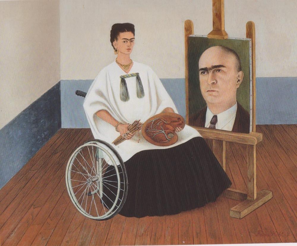 Frida Kahlo Self Portrait With The Portrait Of Doctor Farill, Canvas, Frida Kahlo, kanvas tablo, canvas print sales