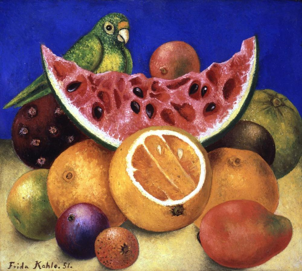 Frida Kahlo Papağan Ve Meyveli Natürmort, Kanvas Tablo, Frida Kahlo, kanvas tablo, canvas print sales
