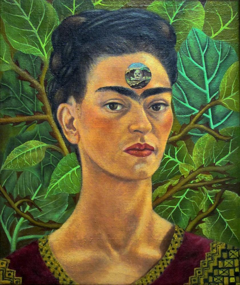 Frida Kahlo Alnındaki Ölüm Kafatası Hakkında Düşünme, Kanvas Tablo, Frida Kahlo, kanvas tablo, canvas print sales