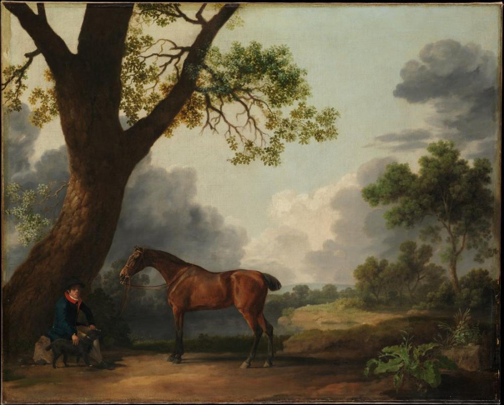 George Stubbs, Bir Damat ve Bir Köpek ile Dorsets Hunter ın Üçüncü Dükü, Kanvas Tablo, George Stubbs, kanvas tablo, canvas print sales