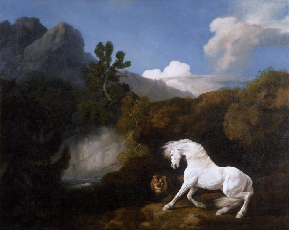 George Stubbs, Bir Aslan Tarafından Korkutulan At, Kanvas Tablo, George Stubbs, kanvas tablo, canvas print sales