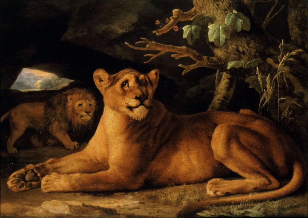 George Stubbs, Lion and Lioness, Canvas, George Stubbs, kanvas tablo, canvas print sales