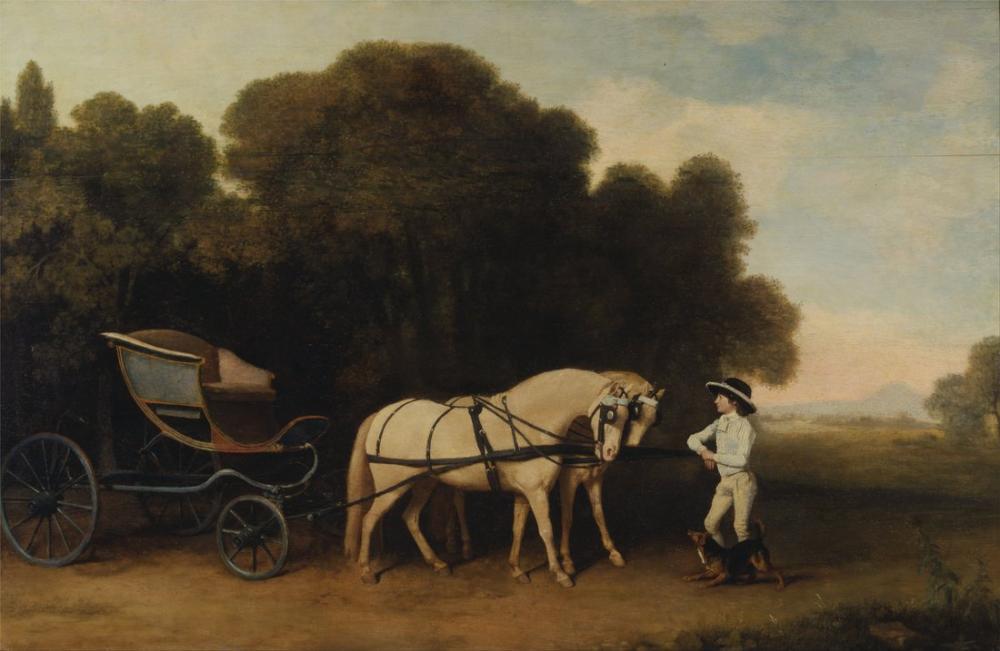 George Stubbs, Phaeton with a Pair of Cream Ponies and a Stable Lad, Canvas, George Stubbs, kanvas tablo, canvas print sales