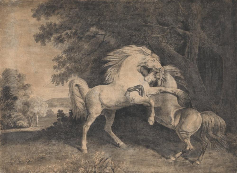 George Stubbs, Dövüşen Atlar, Kanvas Tablo, George Stubbs, kanvas tablo, canvas print sales
