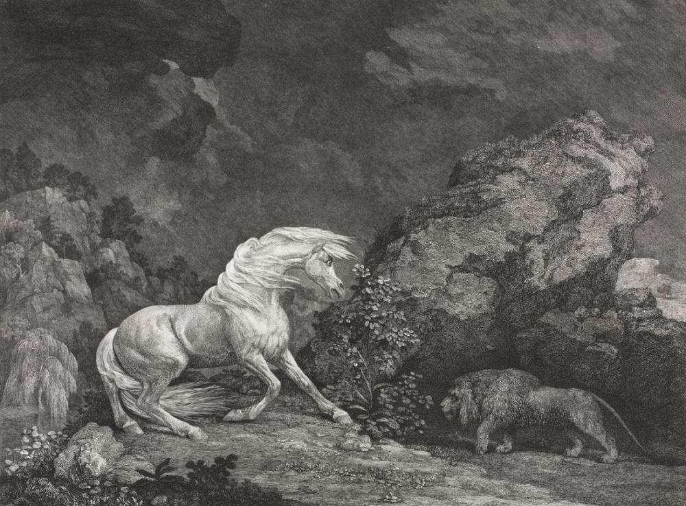 George Stubbs, Aslandan Korkmuş Bir At, Kanvas Tablo, George Stubbs, kanvas tablo, canvas print sales