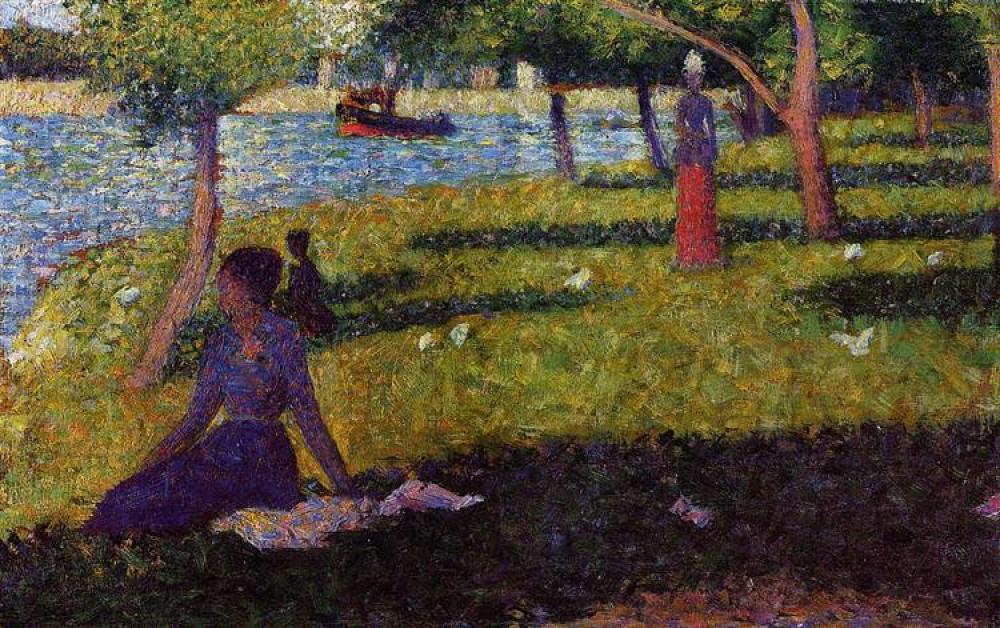Georges Seurat, Oturan ve Ayakta Duran Kadınlar Yağlıboya Tablo, Kanvas Tablo, Georges Seurat, kanvas tablo, canvas print sales