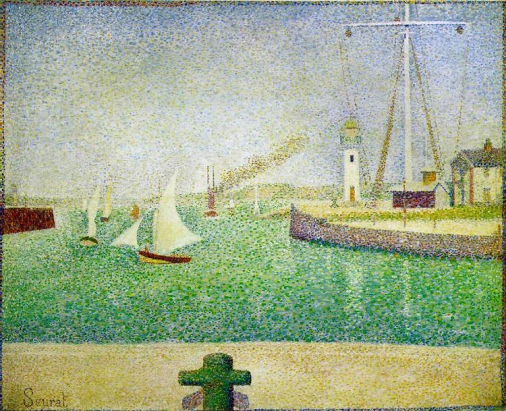 Georges Seurat Port Of Honfleur Oil Painting, Canvas, Georges Seurat