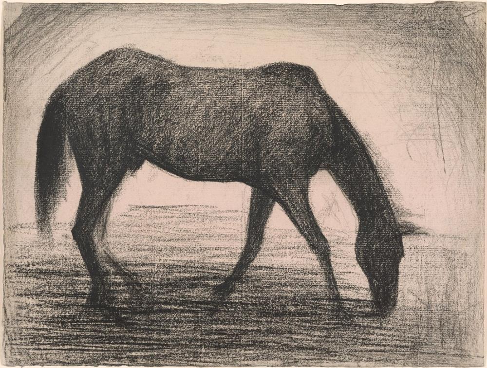 Georges Seurat, Kara At, Figür, Georges Seurat, kanvas tablo, canvas print sales