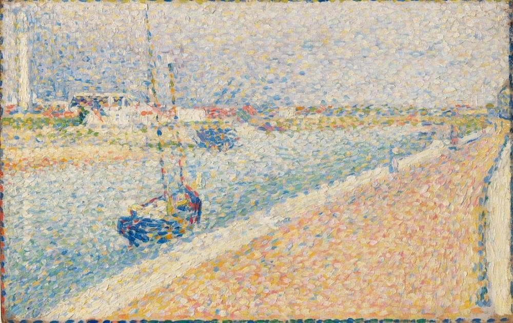 Georges Seurat, Gravelines Kanalı, Petit Fort Philippe, Figür, Georges Seurat, kanvas tablo, canvas print sales