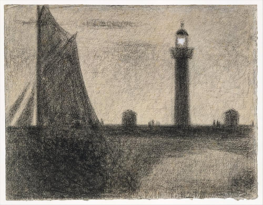 Georges Seurat, Honfleur Deniz Feneri, Kanvas Tablo, Georges Seurat, kanvas tablo, canvas print sales