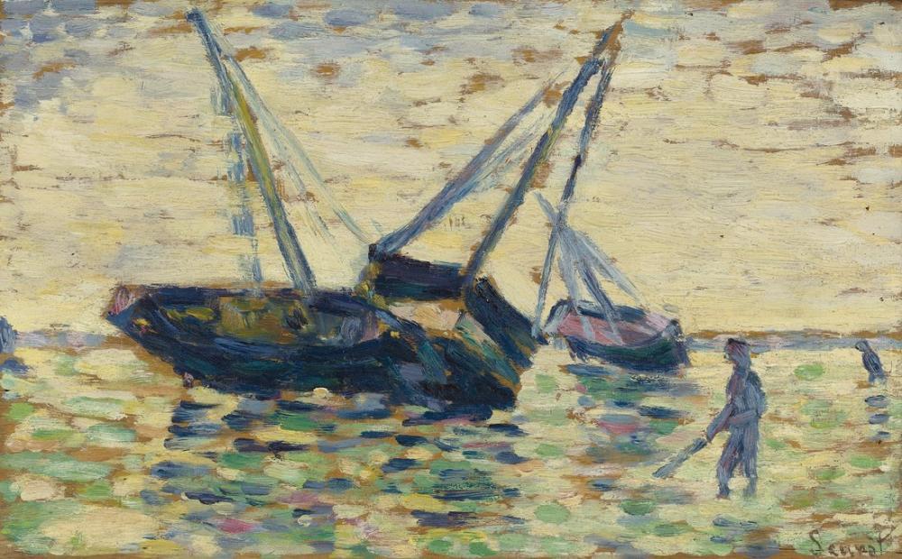 Georges Seurat, Üç Tekne ve Denizci, Figür, Georges Seurat, kanvas tablo, canvas print sales