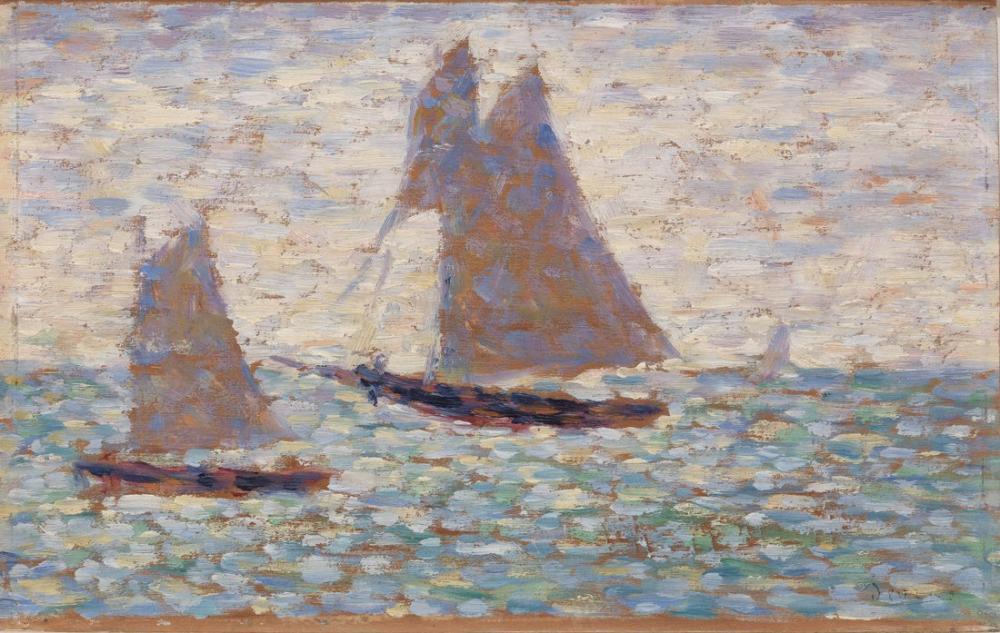 Georges Seurat, Grandcamp ta İki Yelkenli, Figür, Georges Seurat, kanvas tablo, canvas print sales