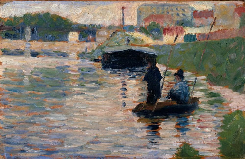 Georges Seurat, View of the Seine, Figure, Georges Seurat, kanvas tablo, canvas print sales