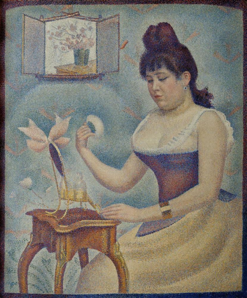 Georges Seurat, Genç Kadın Kendini Pudralıyor, Kanvas Tablo, Georges Seurat, kanvas tablo, canvas print sales