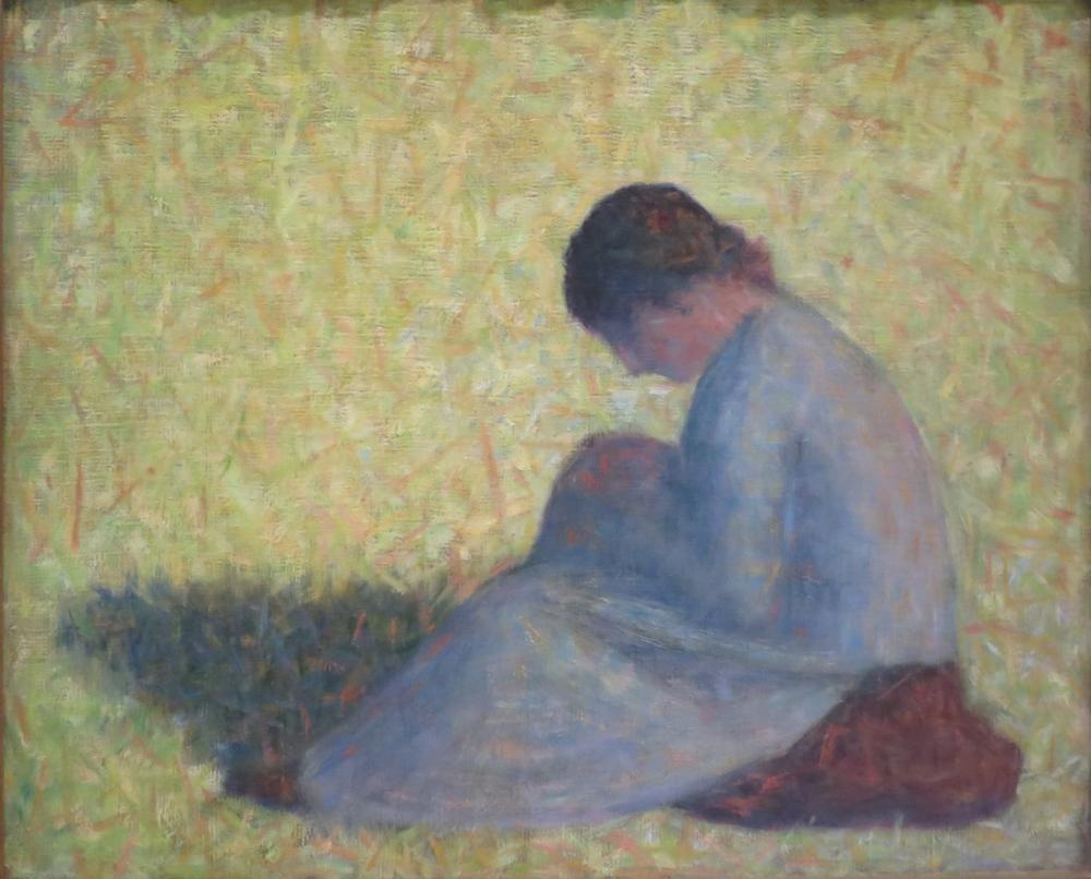 Georges Seurat, Çimlerde Oturan Köylü Kadın, Kanvas Tablo, Georges Seurat, kanvas tablo, canvas print sales