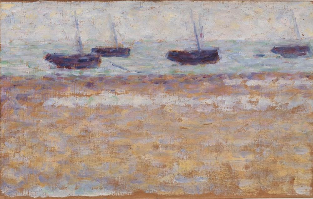 Georges Seurat, Grandcamp ta Dört Tekne, Kanvas Tablo, Georges Seurat, kanvas tablo, canvas print sales