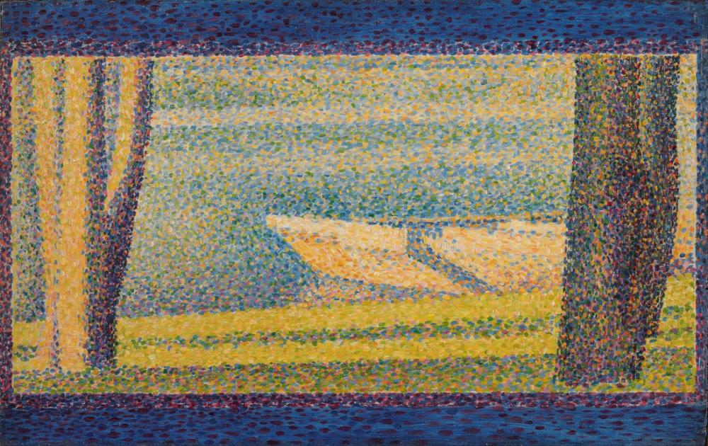 Georges Seurat, Fransız Demirli Tekneler ve Ağaçlar, Kanvas Tablo, Georges Seurat, kanvas tablo, canvas print sales