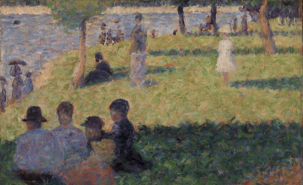 Georges Seurat, Grande Jatte de Bir Pazar İçin Figürler Grubu Çalışması, Figür, Georges Seurat, kanvas tablo, canvas print sales