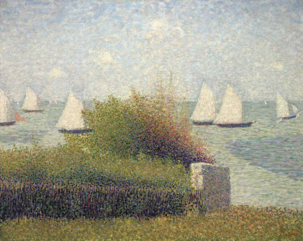 Georges Seurat, Grandcamp Limanı, Kanvas Tablo, Georges Seurat, kanvas tablo, canvas print sales